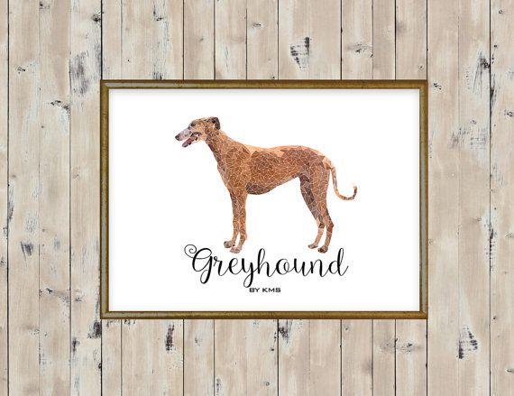 GREYHOUND dog printable.Greyhound Galgo race by KeepMakingSmiles