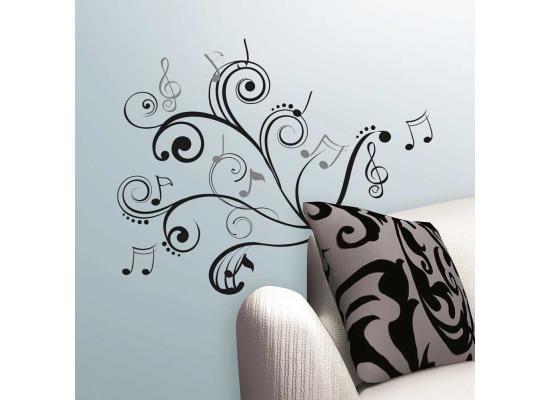 RoomMates Wandsticker Wandbild Musik NotenMusik liegt in der Luft!  Den richtigen optischen Eindruck zur perfekten Akustik liefern Dir die Musik Noten Wandtattoos von RoomMates. Sie kombinieren die Harmonie der Klänge mit Noten und musikalischen Symbolen und schaffen so ein stilvolles Wanddekor schwungvoller Eleganz.