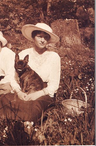 Tatiana Nikolaevna Romanov & her French Bulldog.  Birth: June, 10, 1897 Birth Place: Peterhof, Russian Empire