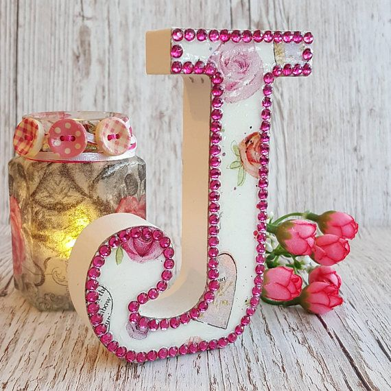 Letter J, Hearts and Roses with pink rhinestones, glitter, initial, decoupage, letters, name, initials, boho decor