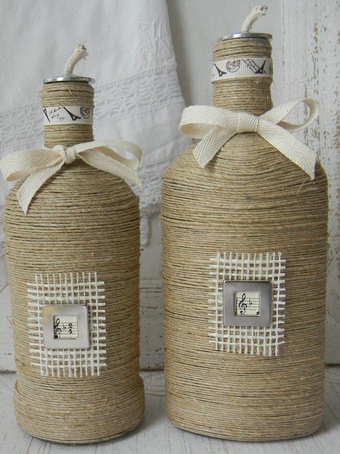 Brocante recycle flessen als olielampen met hennep koord om zelf te maken. Ook leuk voor de kerst! Een werkbeschrijving en alle gebruikte materialen, zijn verkrijgbaar in mijn webshop. Vintagehobbymaterialen