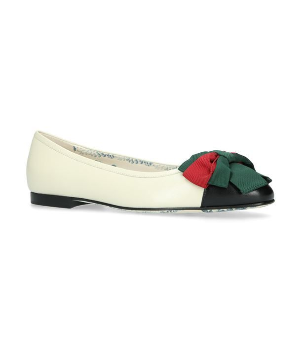 a2ce9f63976 Gucci Bow Detail Ballerina Flats available to buy at Harrods.Shop women s shoes  online and earn Rewards points.