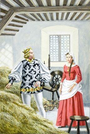 2.- The King gave to the miller's daughter a spinning-wheel and a reel and threatened   killing if she didn't converted the straw into gold