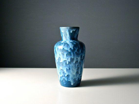 Scheurich blue vase. West German drip glaze fat by AnEyeOnStyle