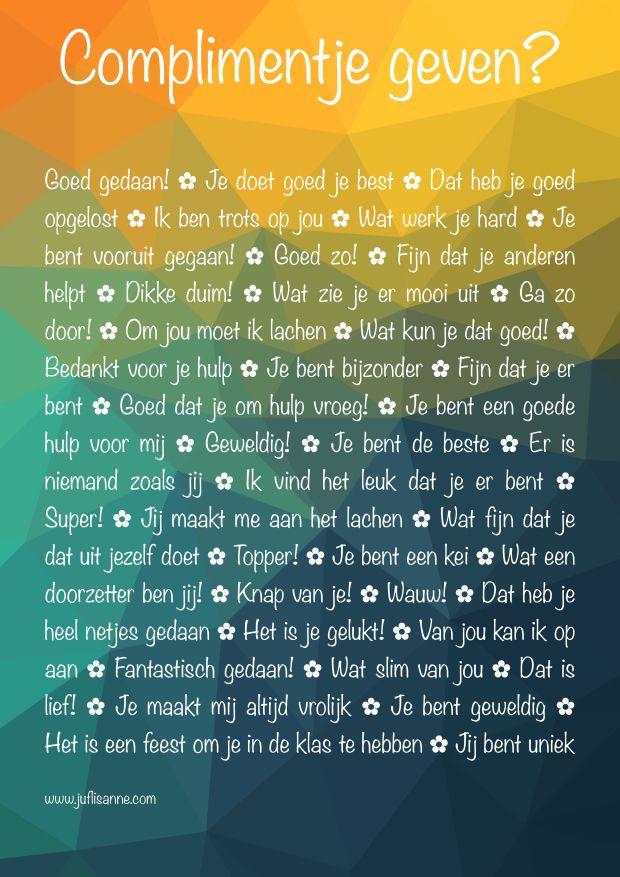 Complimentenposter Juf Lisanne: 40 manieren om een compliment te geven! (download)