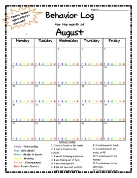 This easy to use monthly behavior log features one page for each month- August 2012 to May 2013. It is to be used in conjuction with the clip chart...