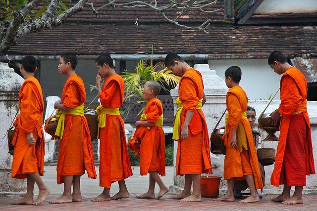 Buddhist monks early morning alms round, Luang Prabang, Laos, December 2012 (by Freek Nijenhuis)