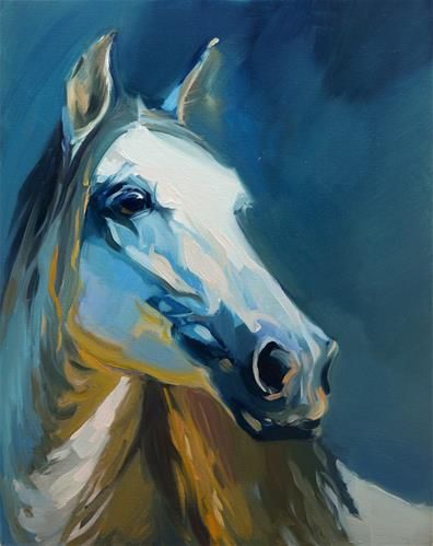 "Daily Paintworks - ""Blue Horse"" by Beata Musial-Tomaszewska"