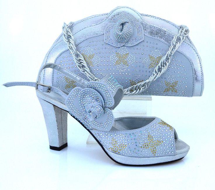 Silber Farbe Italienische Schuhe Mit Passender Tasche Qualität Für Party Hochzeit High Heel Afrikanische Schuhe Und Handtasche MM1008 //Price: $US $61.42 & FREE Shipping //     #abendkleider