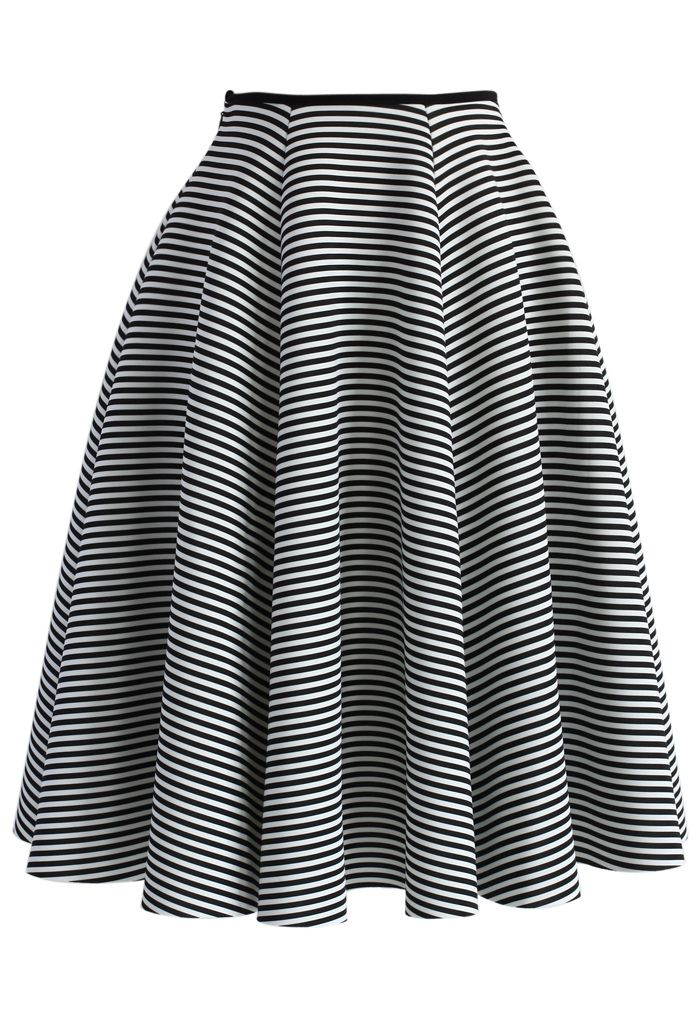 Chic Stripes Airy Full Midi Skirt - Buyer's Pick - Retro, Indie and Unique Fashion