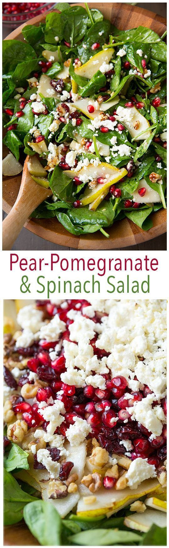 Pear Pomegranate and Spinach Salad with Feta and Vinaigrette - this salad is so delicious and so festive! Perfect for the holidays. #salad #pear #pomegranate