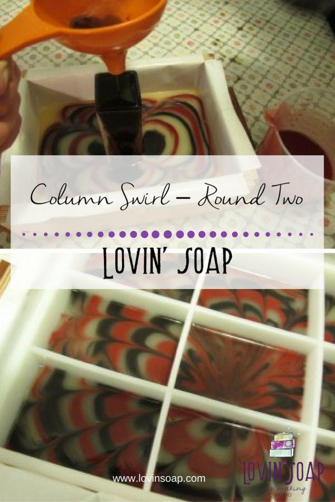 Column Swirl - Round Two - Lovin Soap Studio -  Cold Process Soap Design   Swirling Tutorial   How to Swirl Soap   Funnel Swirl Soap   Hanger Swirl Soap   Soap Recipe   Soap Tutorial   Soapmaking   Soaping   Lovin Soap