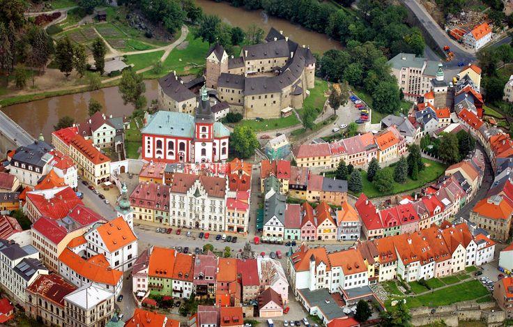 Castle from air  (Loket, Czech republic)