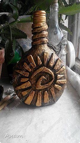 Декор предметов День рождения Лепка Папье-маше Бутылочка Бутылки стеклянные Глина Гуашь Клей Краска фото 1