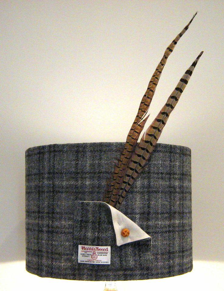 Harris Tweed Lampshade- 35cm Drum Shade- Grey Tartan