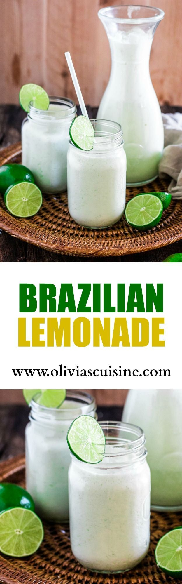 Brazilian Lemonade | http://www.oliviascuisine.com | The creamiest and sweetest lemonade (or limeade) you have ever tried. The secret? Sweet condensed milk. Sweet just like Brazilians like it!
