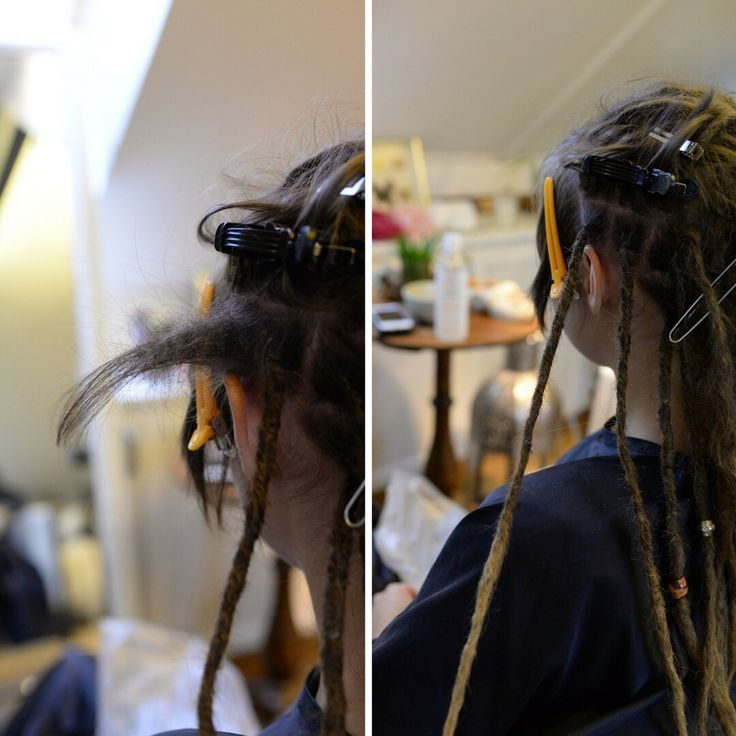This is Petra, she had a side cut that she made when she had a hole head of dreadlocks. She wanted an change an grew out the sidecut and brought her old dreadlocks for me to attach again.