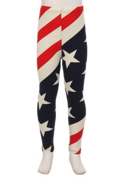 Child Leggings AMERICAN FLAG STARS STRIPES. Red, White, Blue. S/L