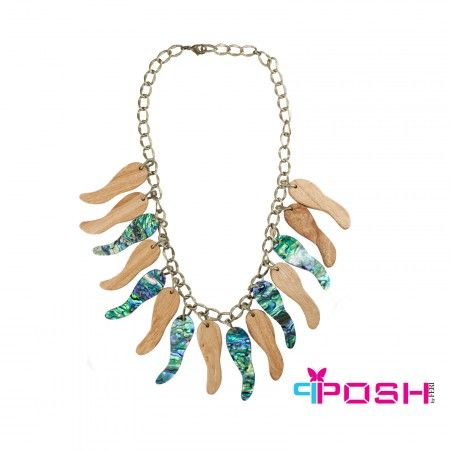 "Global Wealth Trade Corporation - FERI POSH-- Safari Collection by POSH - Brass toned chain necklace  - Embellished with natural wood and seashell acetate beads  - Lobster claw clasp closure - Dimension: 23.62"" necklace length - Bead dimension: 2.66"" length, 0.79"" width"