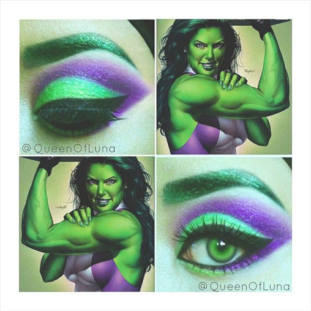 Close-up of She-Hulk inspired makeup.