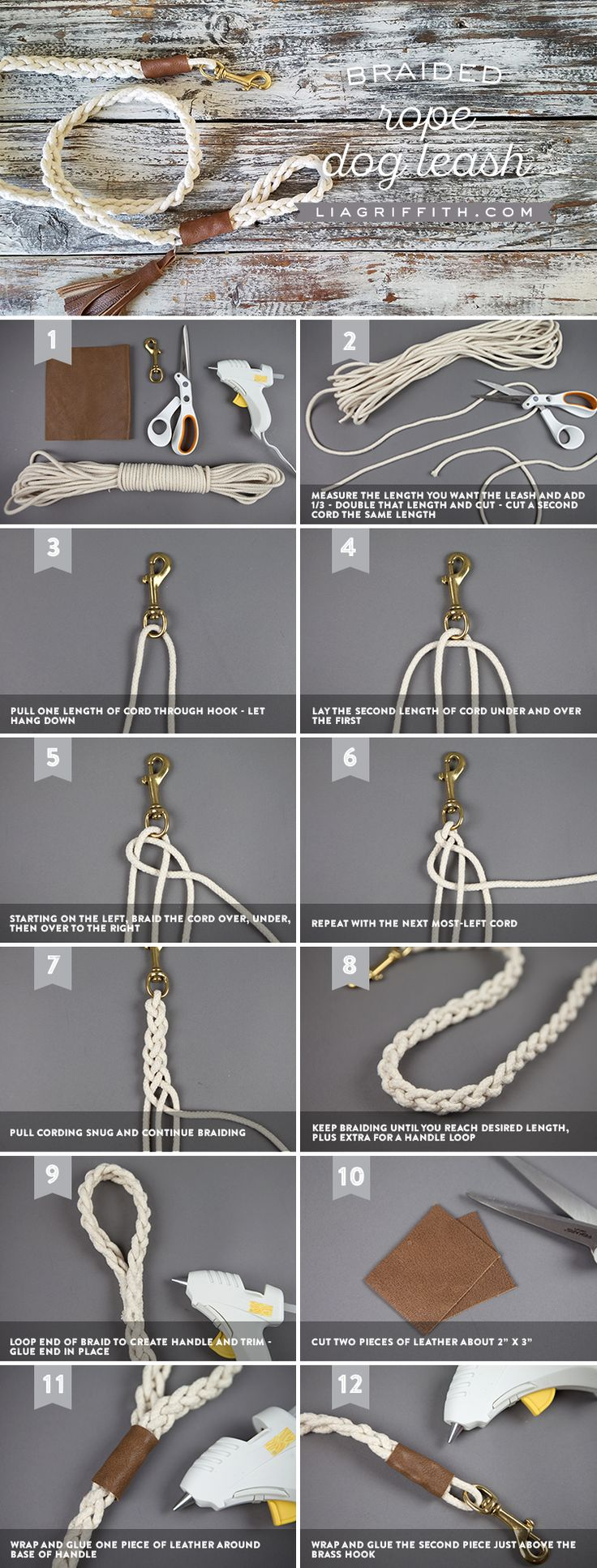 Braided Rope Dog Leash with Leather Details