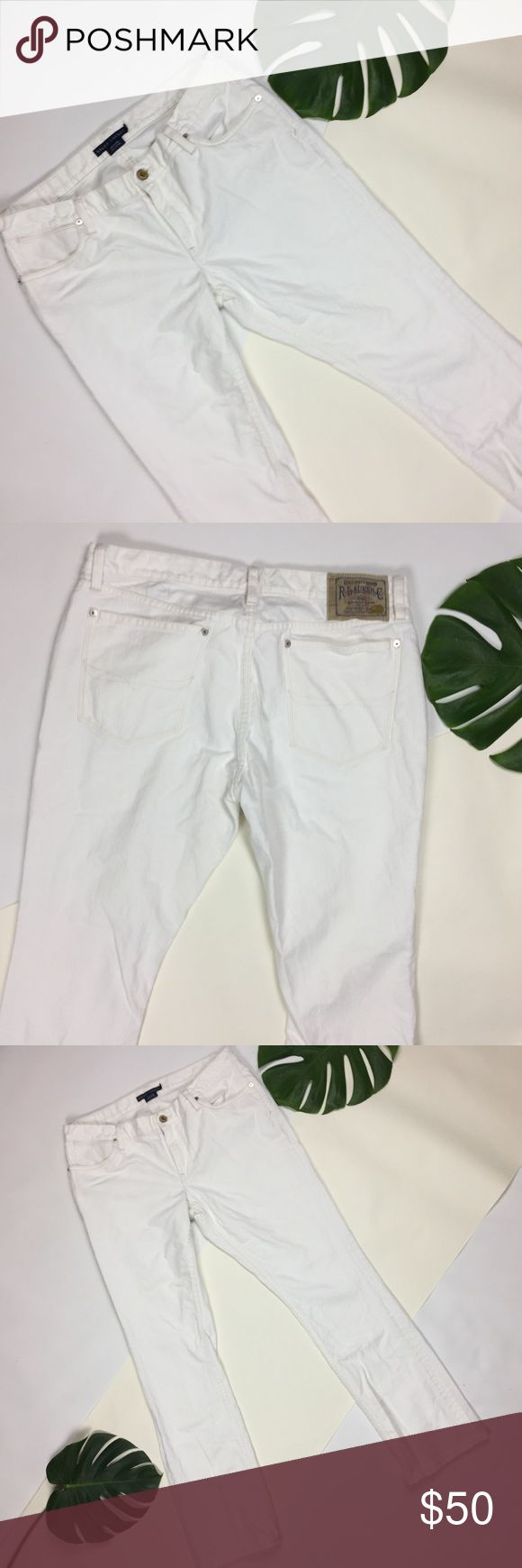 Ralph Lauren 🗝 mens sz 32 madison white jeans Ralph Lauren 🗝 mens size 32 waist madison 888 white jeans in excellent condition. Straight leg relaxed fit white trouser denim jeans. Ralph Lauren Jeans Slim Straight