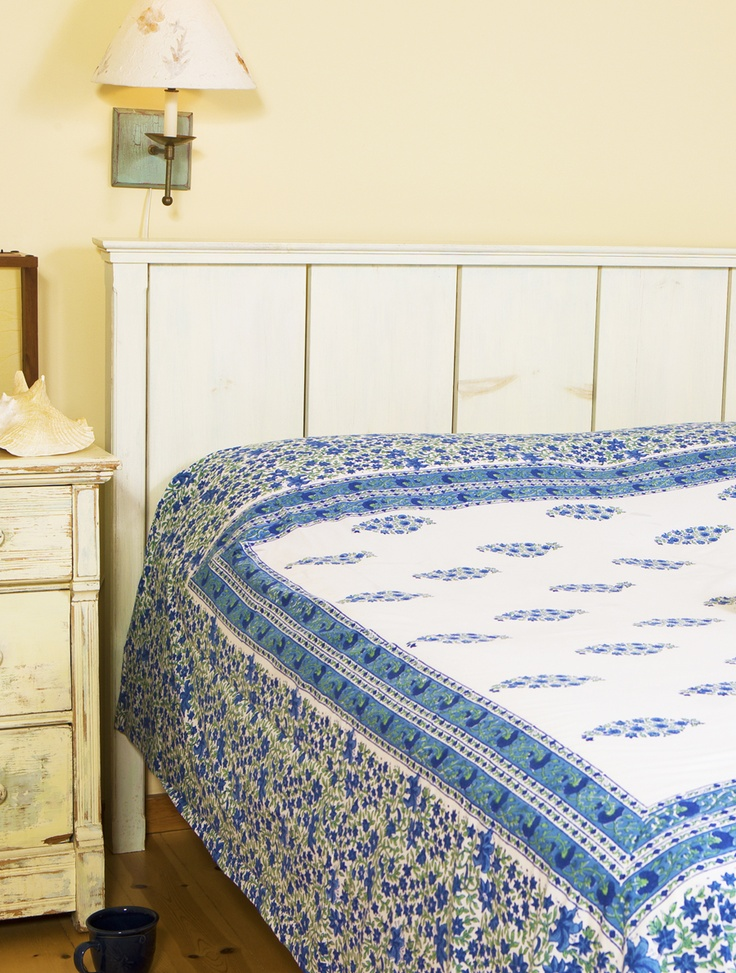 French Country Interiors - Blue Bed Sheets - Hand Block Printed from Attiser