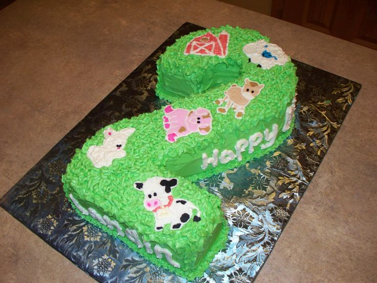 """Carved """"2"""" Farm Animals Birthday Cake! - I think this may rank up there with my favorite cakes I've ever done.   It's two layers, one chocolate silk and one white cake, with buttercreme filling and all buttercreme decoration. I carved the """"2"""" out of rounds and squares.  I LOVE IT."""