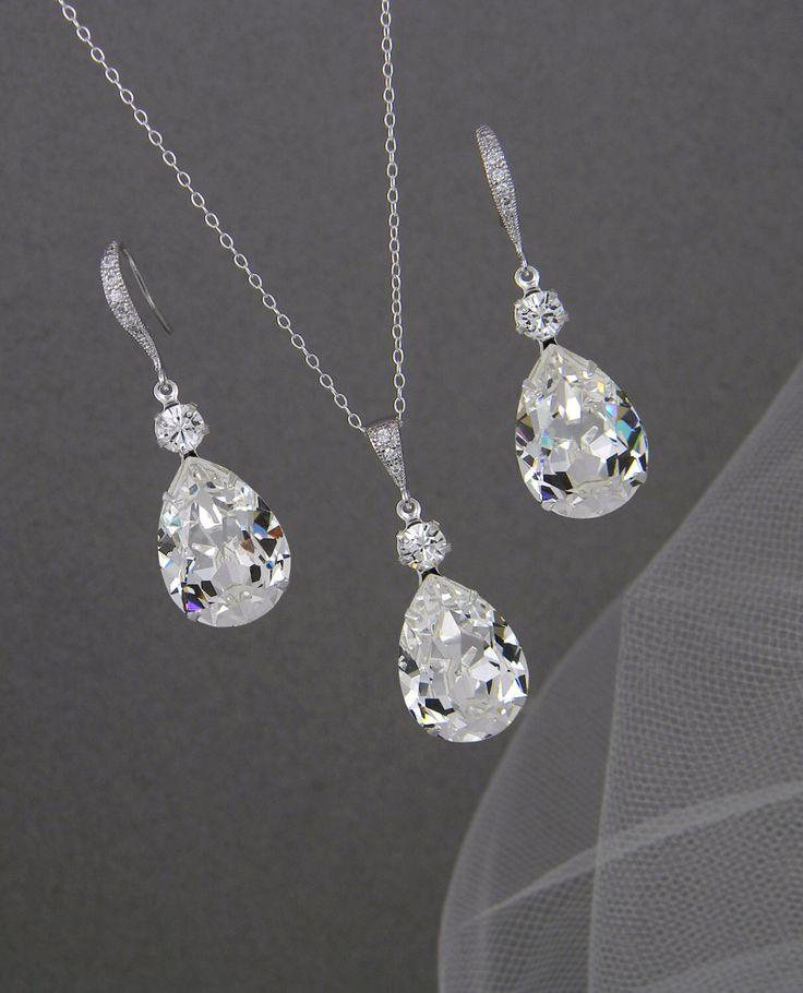 Bridal Jewelry Set, Crystal Pendant Earrings Necklace Jewelry Set , Wedding Jewelry, Bridesmaids Jewelry Set, Crystal Drop Set by CrystalAvenues on Etsy https://www.etsy.com/listing/87760678/bridal-jewelry-set-crystal-pendant