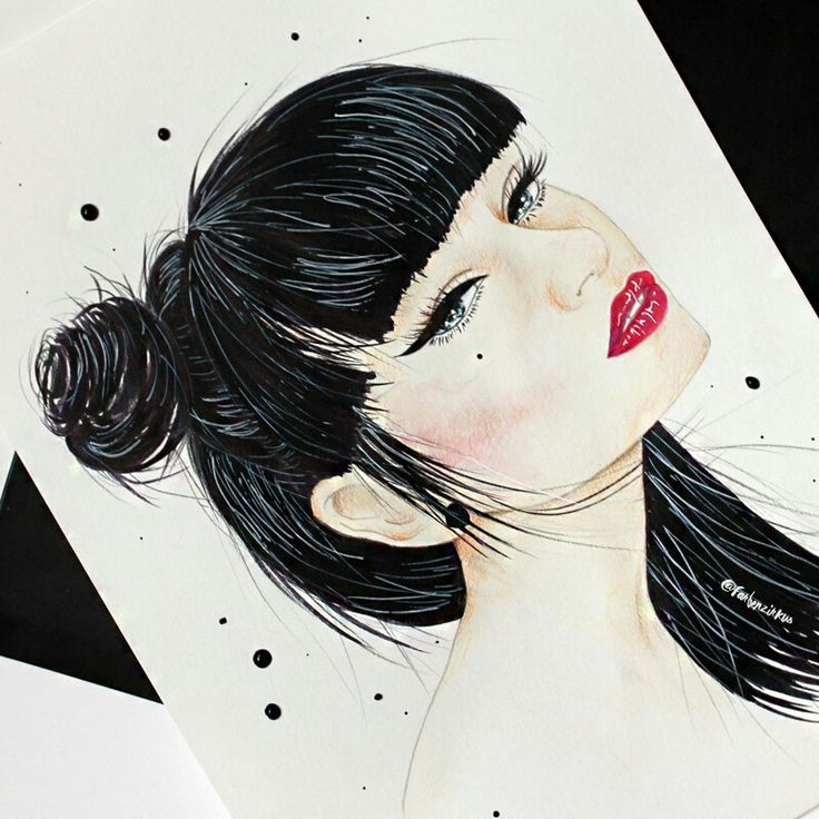 Drawing Of Nuehai Girl With Black Hair And Red Lipstick