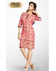 Button Style Cotton Digital Printed Red Kurti