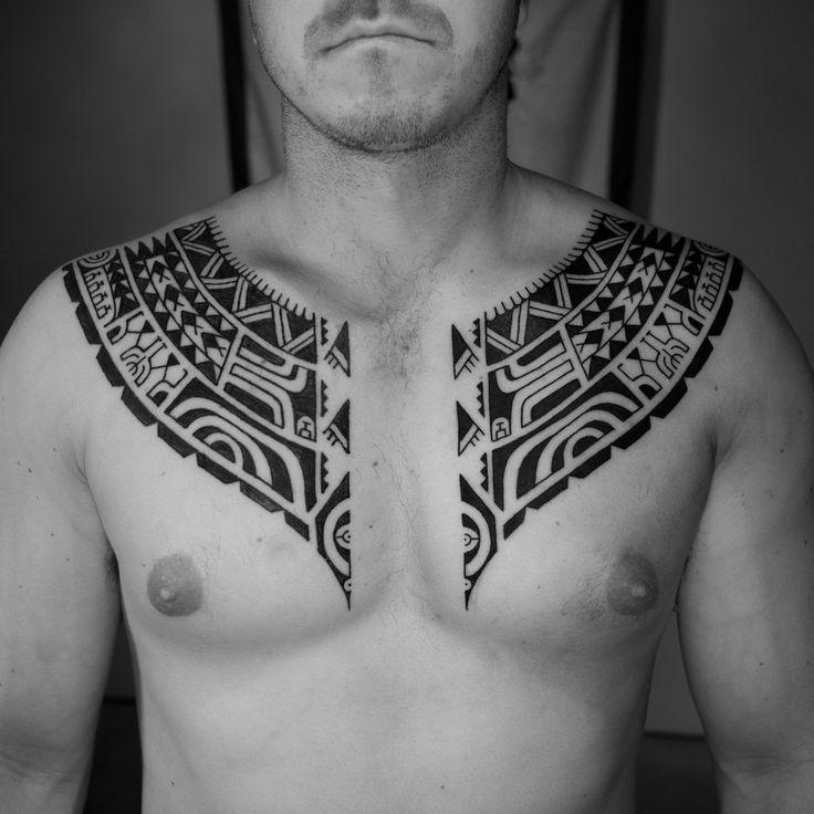Custom Blackwork Chest Plate Tattoos Polynesian Inspired Tribal Chest Tattoo Tattooed by Mikel Johnson • 4 Truths Tattoos • Mikel.ca
