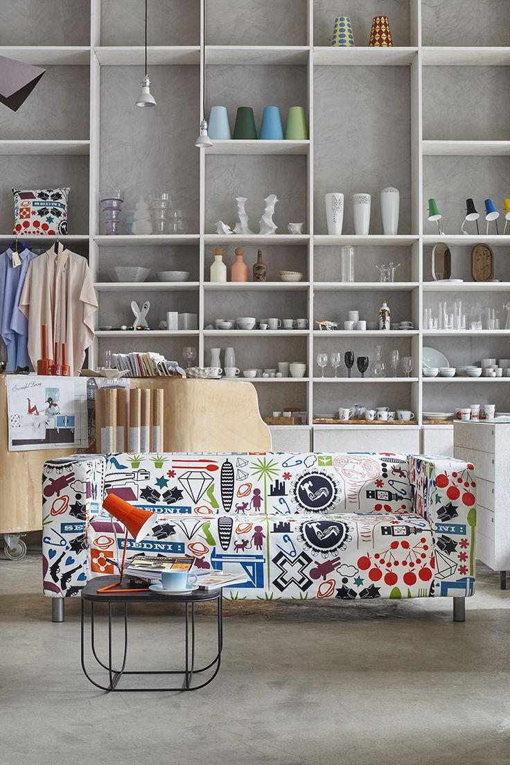 ARTEFLY Ikea Klippan cover TIME FLIES - interior styling / funny and colorful fabric print