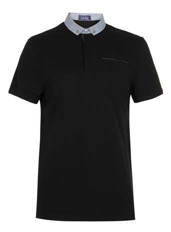 Black T-Shirt in textured fabric with contrast collar and leather look trim on pocket. 100% Cotton. Machine washable.