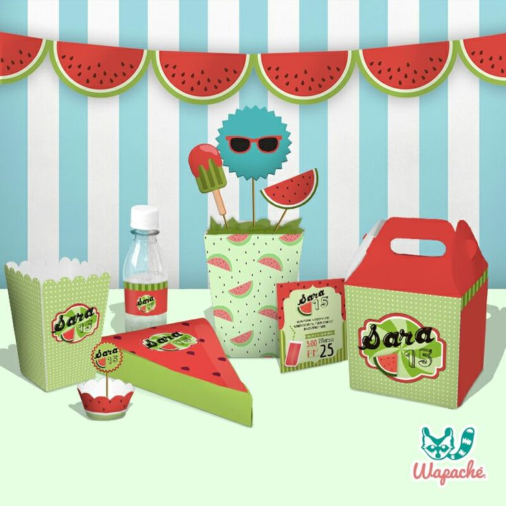 Watermelon party   #kitstematicos #personalized #sandia #box #surprise #popcorn #centerpiece