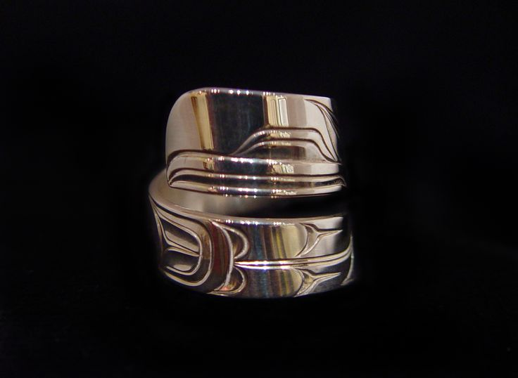 Raven Ring 2, Sheldon Williams. Handcarved sterling silver, wrap style. Northwest Coast First Nations Jewelry.