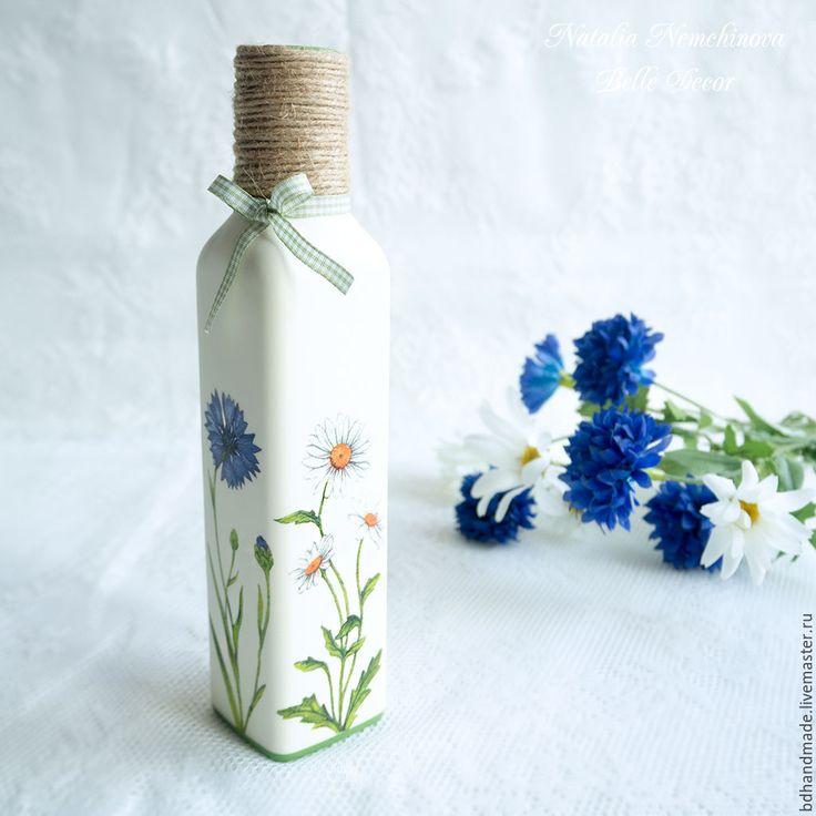 Купить Ваза-бутылка с полевыми цветами (эко стиль) - зеленый, ваза, ваза для цветов