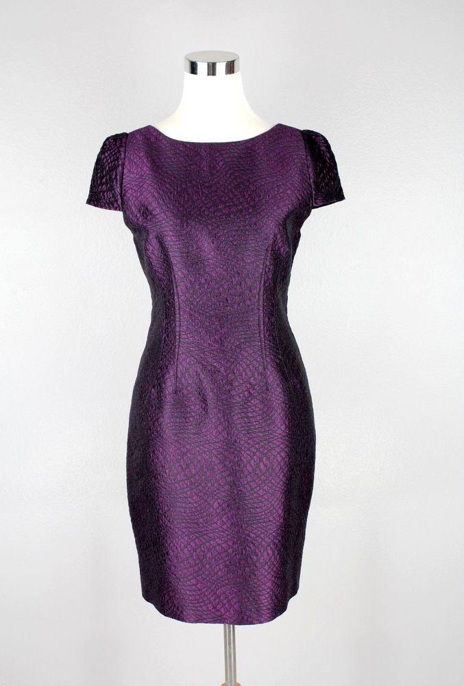 Tahari Purple Dress Party Cocktail Short Sleeve Wedding Mini Career ...