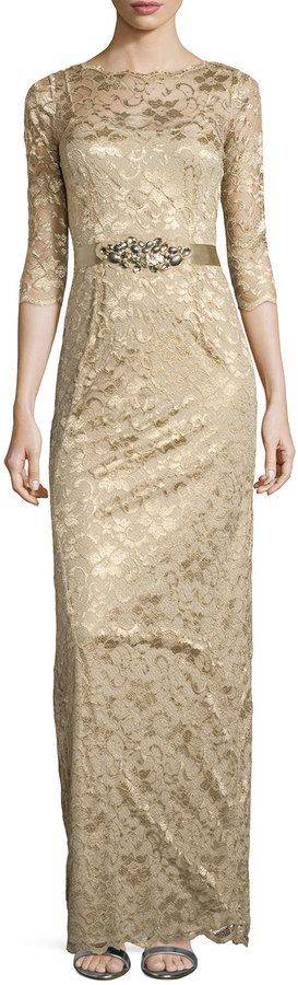 """Rickie Freeman for Teri Jon [span class=""""product-displayname""""]3/4-Sleeve Lace Overlay Gown, Gold [/span]"""