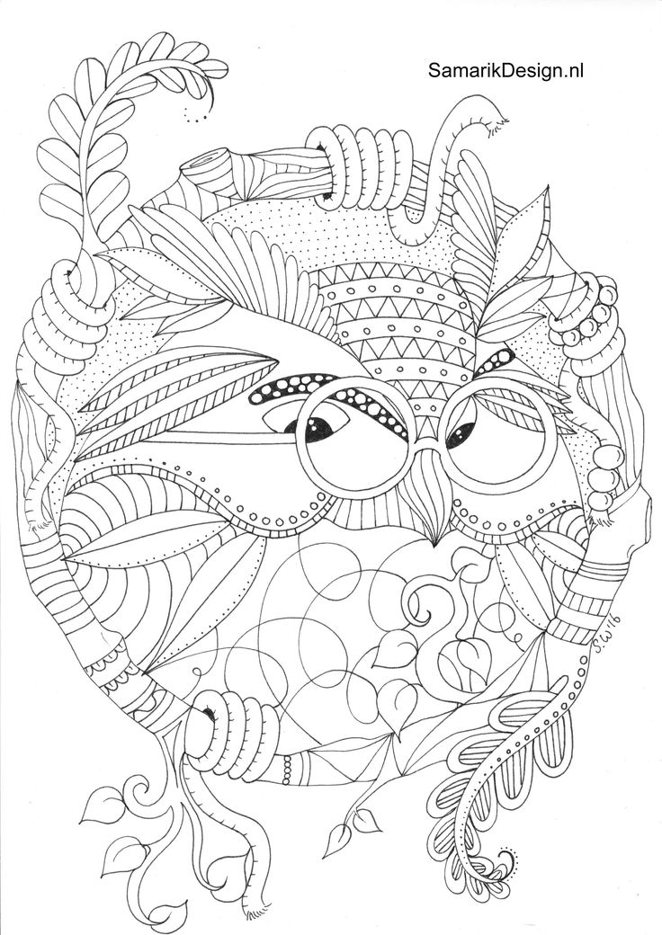 Owl Doodle Coloring Page Find This Pin And More On Kleurplaten Voor Volwassenen Colouring For Adults