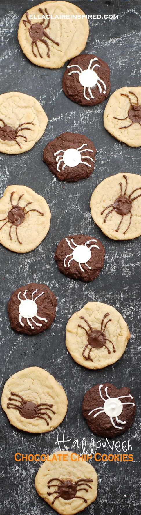 I love these Creepy Crawly Halloween Chocolate Chip Spider Cookies! See the recipe at ellaclaireinspired.com.