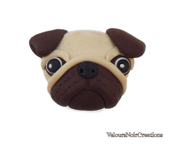 magnet pug dog created by hand  polymer clay