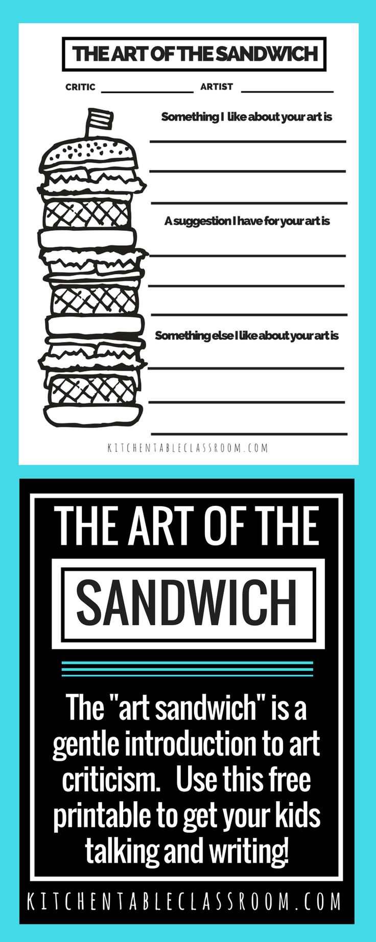 """Evaluation and judgement can be harsh words. Use this free printable to gently introduce art criticism for kids in terms of the """"art sandwich."""""""