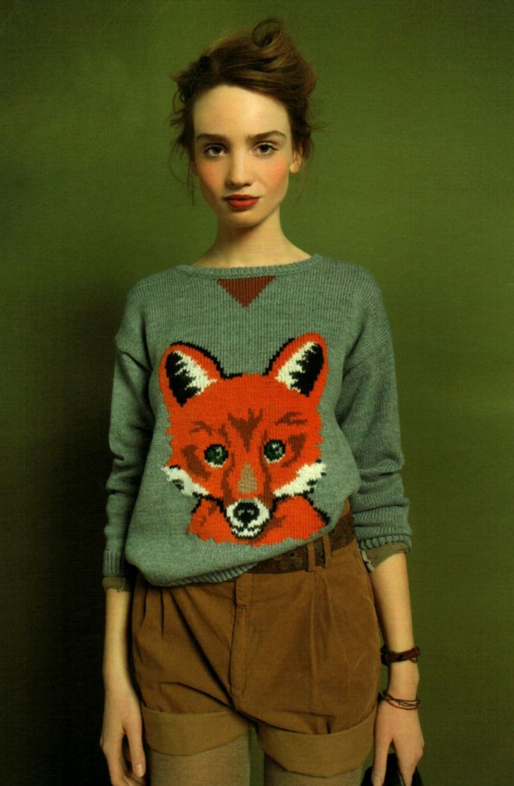 Fox Pullover. I love this woman's rosy complexion... the look is so pretty