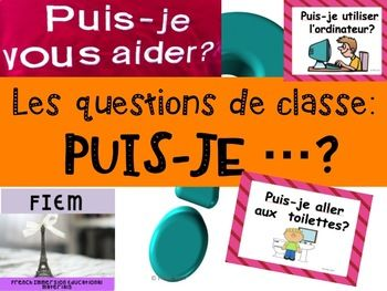 "Ready to print! No prep!This colourful resource is ready to print on 8x11 paper.This resource includes 19 basic French classroom prompts all starting with: ""Puis-je ...."".  Here are some examples of flashcards:Puis-je aller aux toilettes?Puis-je aller  la bibliothque?Puis-je aller au couloir?Puis-je aller boire?Puis-je aller au bureau?Puis-je vous aider?Puis-je aller tlphoner?Puis-je aller au gymnase?Puis-je ouvrir la fentre?Etc.Each flashcard helps with oral communication and sentence…"