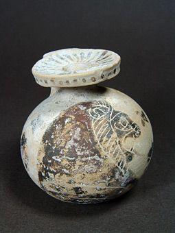 Όστρακο Αρχαία Τέχνη, Κορινθιακό Αρύβαλλος με Lion Προτομή, 625 με 600 π.Χ.