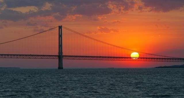 The Mackinac Bridge at sunset.