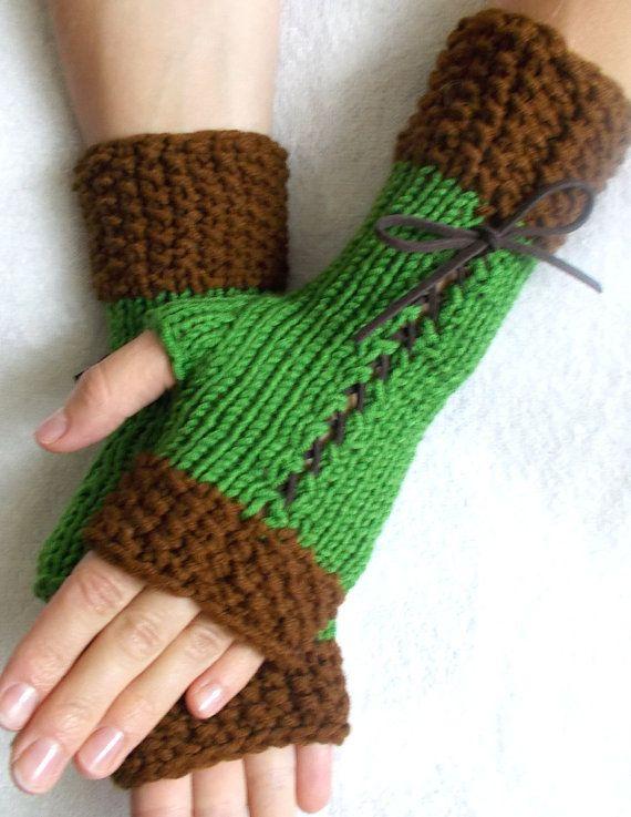 Knit Corset Gloves Green Brown Fingerless Women  Wrist Warmers