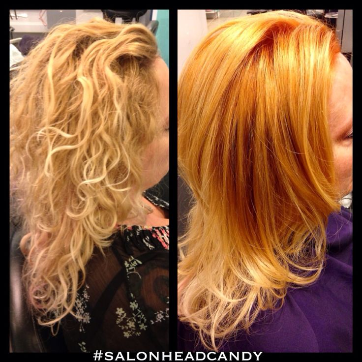 Before & after from a overly lightened blonde to a perfectly blended strawberry blonde color melt into light blonde by Robin! Wella Koleston 8/34 at the root area, 9/3 with pastel at mids, blended to ends with conditioner!