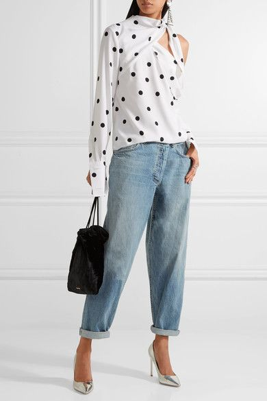 Monse - Asymmetric Mid-rise Tapered Jeans - Mid denim